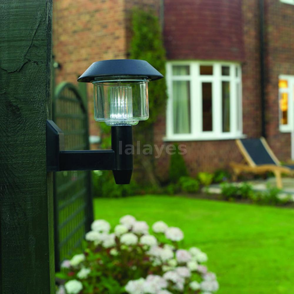 led fence lamp wall mount light solar power outdoor garden. Black Bedroom Furniture Sets. Home Design Ideas