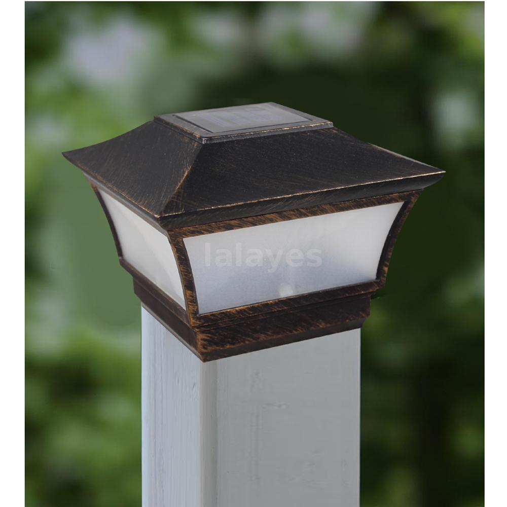 Post Cap Light Pillar Wall Lamp Solar Fence Mount Retro Style for Driveway P9T3 : eBay