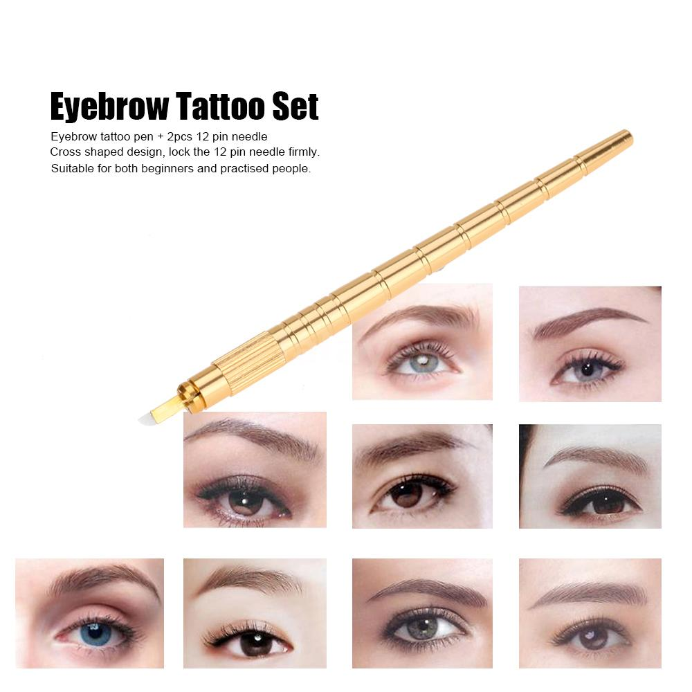 Microblade tattooing embroidery eyebrow pencil 2pcs 12 for Eyebrow tattoo pen